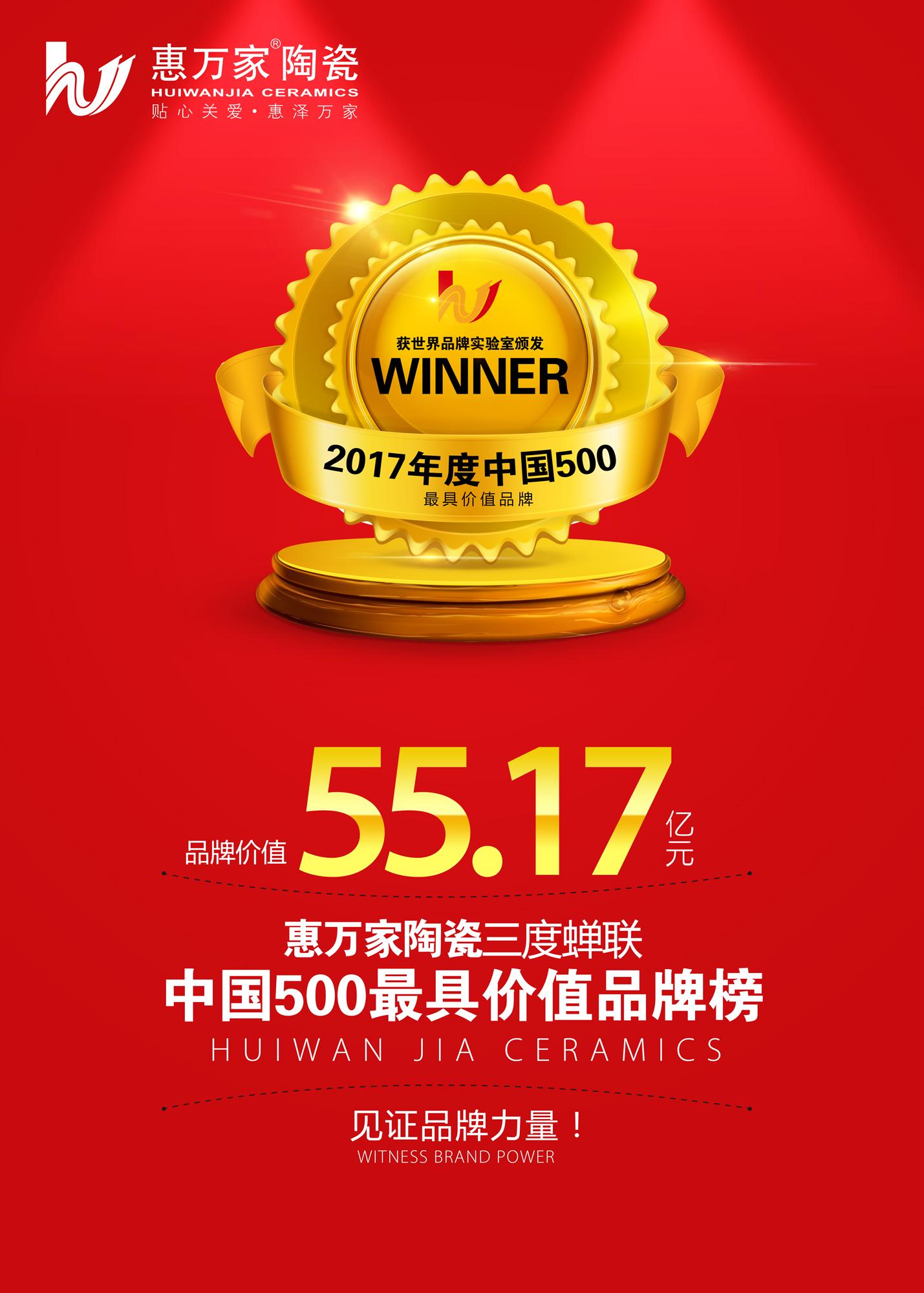 """品牌价值55.17亿元!惠万家陶瓷三度蝉联""""中国500最具价值品牌榜"""""""